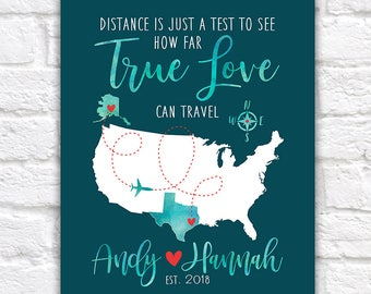 Custom Map Gift, Distance is just a test to see how far TRUE LOVE can travel - Long Distance Relationship Couples, Moving Together | WF471
