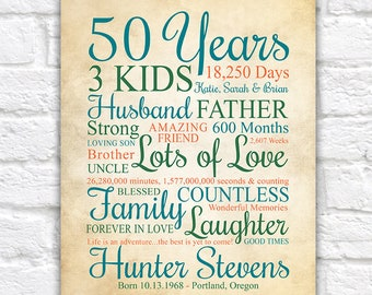 Mens 50th Birthday Gift, Personalized for Men or Woman, Choose ANY Year, Bday Sign, Party Gift, Gift for Dads Birthday, Brother | WF620