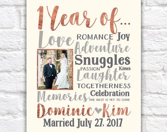 1 Year Anniversary Gifts, 1 Year of...Choose ANY year - Personalized Gift, Anniversary for Wife, Husband, First Year Together, Paper | WF304