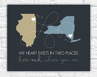 Heartfelt Gift for Boyfriend, Long Distance Relationship Maps, State Maps, Long Distance Relationship Quotes, Birthday Gift Decor  | WF578