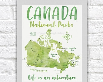 Canada National Parks Map Poster, Canvas, Art Print, Educational, Classroom, Bucket List Map, National Park Gift, Traveler, Hiker | WF621