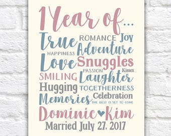 1st Anniversary Gift, 1 Year Married or Dating, Paper Anniversary Gift, Love, Adventure, Home Decor Art Piece, First Anniversary | WF337