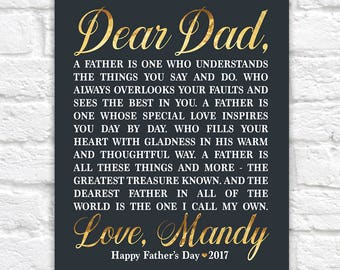 Personalized Father's Day Gift for Dad, Poem about Dad, Fathers Day Letter, Greeting, #1 Dad Gift, Quotes about Dad, Gold, Son | WF587