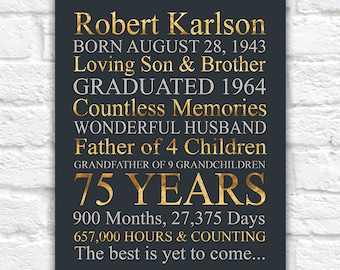 Birthday Gift for Men, 75th Birthday, Turning 70 Years Old, Gift for Dads Birthday, Grandpa, Family Information, Gold Birthday | WF615