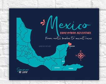 Cancun, Mexico Map, Personalized Gift, Riviera Maya, Playa Del Carmen Wedding, Honeymoon, Cozumel, Ancient Ruins, Exotic Beach | WF588