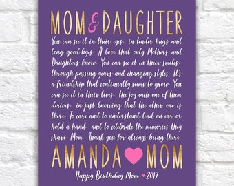 Birthday Gift for Mom or Daughter Personalized Bday Present, Mom Poem, Poetry Mother Daughter, Heartfelt Letter, Quote, Mama Love | WF585