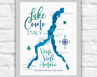 Lake Como Map, Italy Lake, Lago di Como Map, Veni Vidi Amavi, Italian Quote, Bucket List, Honeymoon, Elopement, Bellagio Blue, Green | WF616