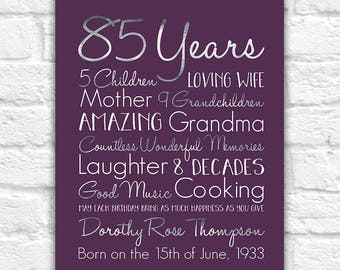 Birthday Gift For Grandma Choose ANY Year 85th Gifts 80 Years Old