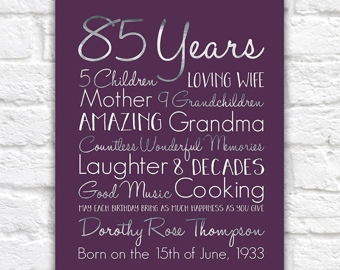 Featured listing image: Birthday Gift for Grandma, Choose ANY Year, 85th Birthday Gifts, 80 Years Old, Gift for Mother, Grandmother, Great Grandma, Born 1930s WF604