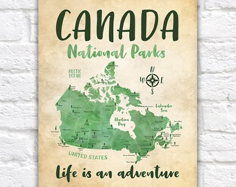 National Parks of Canada on a Map POSTER Artwork, Rustic Green Map of Canada Provinces Parks, Ontario, BC, Quebec, Labrador, Kids | WF622
