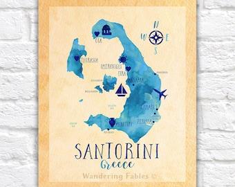 Santorini, Greece Map, Greek Isle Map of Santorini, Oia, Travel Map of Santorini, Greece Honeymoon, Santorini Wedding Elopement Gifts
