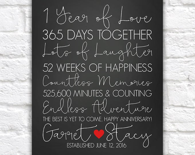 Featured listing image: 1 Year Anniversary Gifts, First Anniversary, 1st Year Paper Anniversary Gift, Personalized Wedding Anniversary Gift for Husband, Men   WF560