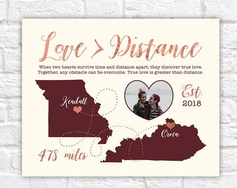 Love is Greater than Distance, Long Distance Relationship Maps, Quote about Long Distance, LDR, Gift for Boyfriend, Girlfriend | WF211