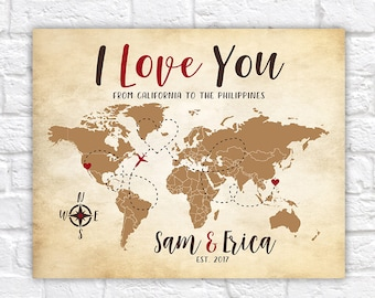 Personalized Wedding Gift, Travel Map, Destination Wedding, I Love You, Long Distance Map, California, The Philippines, Girlfriend | WF571