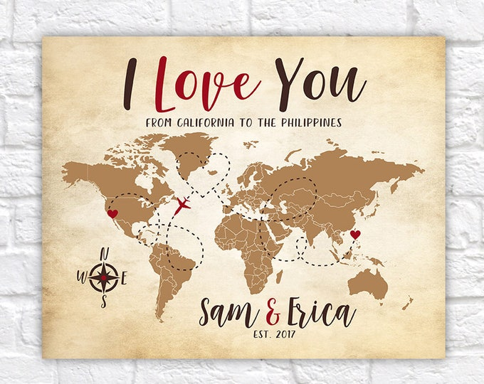 Featured listing image: I Love You Map, Long Distance Relationship Gift for Couple, Living Far Apart, Distance from Each Other, World Map Couple Overseas Gifts