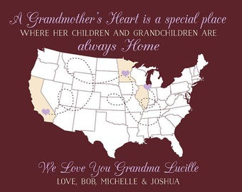Grandmother Gifts, Gift for Grandma, Birthday Gifts, Grandmas House, Wall Decor Sign, Map Art Print, Nana, Memaw, Great Grandma | WF517