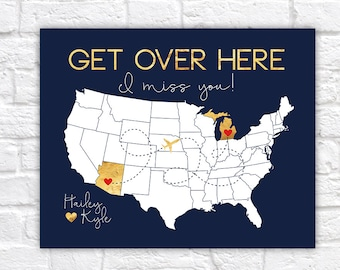 Long Distance Relationship Present, Unique Gift Idea, Get Over Here, I Miss You, Gift for a Man, Boyfriend Living Far Away, Michigan   WF424