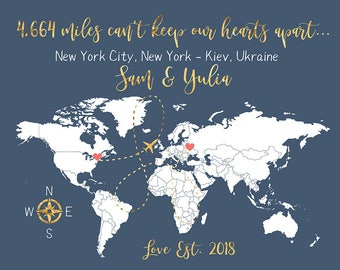 World Map Long Distance Love Gifts, Miles Apart Map, Gold Gift, Global, World Couple Living Apart, Far Away Lovers, LDR Gifts  | WF171