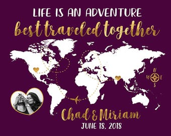 Life is an Adventure with Photo, World Map Personalized Gift, Wedding Gift for Long Distance Couple, Traveling Gifts, His and Hers | WF80