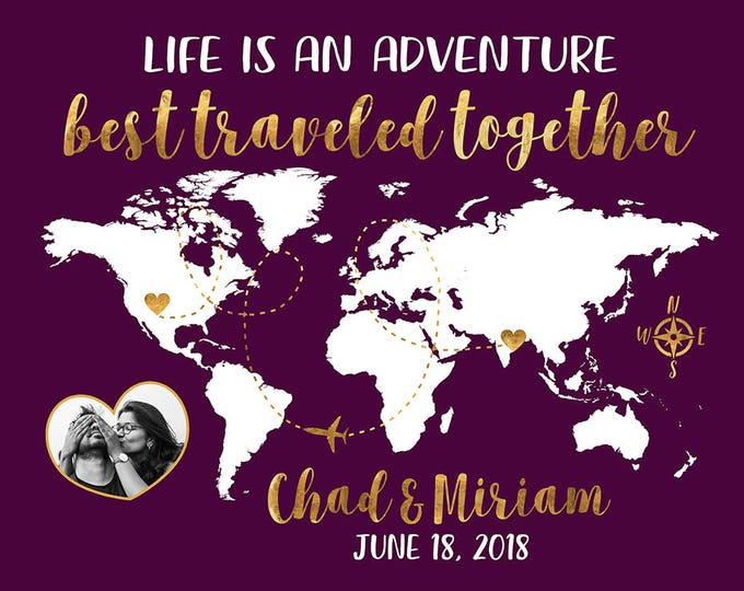 Featured listing image: Life is an Adventure with Photo, World Map Personalized Gift, Wedding Gift for Long Distance Couple, Traveling Gifts, His and Hers | WF80