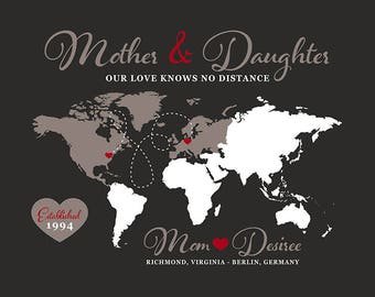 Mother, Daughter World Map, Personalized Long Distance Gift Mom andChild, Overseas, Study Abroad, Going Away, Neutral, Christmas | WF129