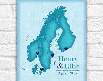 Scandinavia Map, Sweden, Norway, Denmark, Finland - Custom Art, Travel, Vacation, Keepsake, Gift for Husband Destination Wedding Trip | WF13