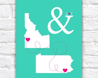 Ampersand Maps Wedding Gift, Two Map Art Print, Gift for Bride and Groom, Turquoise and Pink Wedding Decoration Travel Theme | WF343