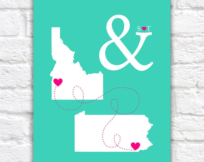 Featured listing image: Personalized Wedding Maps -  Custom Art Print, Engagement Gift, Bridal Shower Gift, State Maps, Hearts, Ampersand, And Symbol, Love | WF343