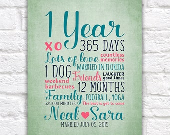 1 Year Anniversary Gift, First Anniversary as Husband and Wife, Boyfriend and Girlfriend, 365 Days of Marriage, Dating Anniversary | WF139