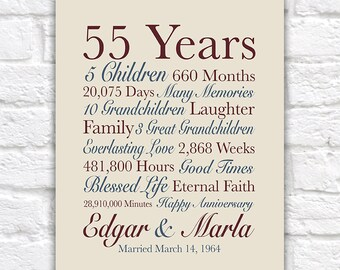 55th Anniversary Gift, 55 Years Married, Gift for Grandparents Anniversary, Grandma and Grandpa Gift, Parents Wedding Anniversary | WF621