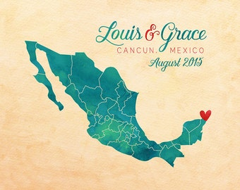Wedding Anniversary Gift, Mexico Honeymoon, Personalized Map Art, Canvas Sign, Gift for Husband, Wife, Wedding Gift Friends, Cancun | WF64