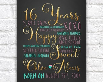 Sweet Sixteen, 16th Birthday Gift, Gift for Best Friend, Daughter, 16 Years Old, Teen Girl Gifts, Teenage Daughter, Bedroom Poster Sixteen