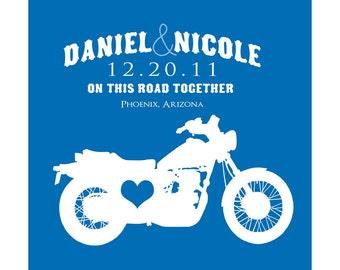 Personalized Love Wedding  Custom Print - WEDDING GIFT, Motorcycle, Travel, Bike, Wheel, Harle, Biker Couple, Anniversary Gift