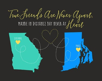 True Friends Are Never Apart, Custom Long Distance Friendship Gifts, Moving Away Gift, Going Away Party, Neighbors Moving | WF400