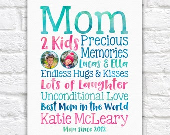 Mothers Day Gift for Wife from Children, Kids School Photos on Art Print with Special Words about Mom, Best Mom in the World Gift Birthday