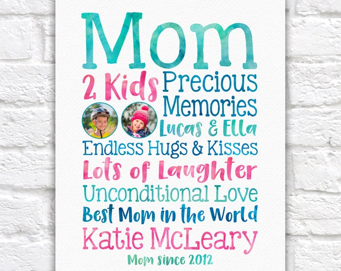 Featured listing image: Mothers Day Gift for Wife from Children, Kids School Photos on Art Print with Special Words about Mom, Best Mom in the World Gift Birthday
