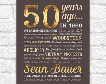 50th Birthday Gift, 50 Years Ago in 1969 Sign, Personalized Name Gift, Stats of Birth Year, Landed on the Moon, Vietnam, Fifty 50th WF678