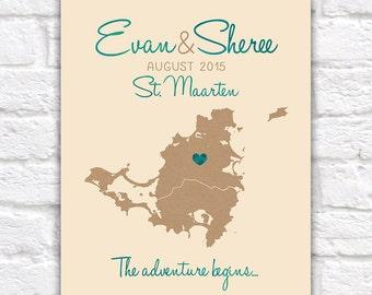 Destination Wedding Map, St. Maarten, Saint Martin, Caribbean Map of Island, Travel, Travel Quote, Adventure, Honeymoon, Anniversary WF247