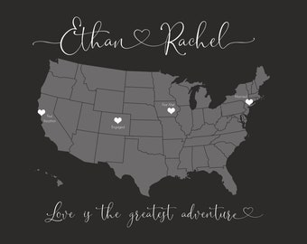 Wedding Guestbook Print, Personalized Map of Special Places for Couple, Unique Wedding Decor, First Anniversary Gift, Couples Gray White