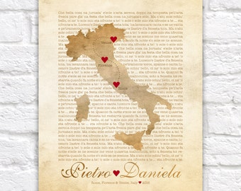 Italy Map, Wedding, Engagement in Italy, Florence, Rome, Cinque Terre, Amalfi Coast, Venice, Italian Poem, Tuscan, Tuscany, Sicily WF158