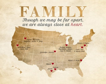 Gift, Family Map, Relatives, Parents, Grandparents, Aunts, Uncles, Siblings - Art Map, Sister, Brother, Mom, Dad, Grandma, Grandpa Poster