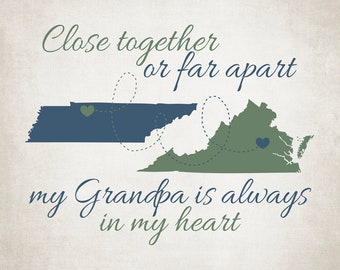 Grandpa Gift Long Distance Maps, Close Together or Far Apart, Two State Maps, Christmas Gift for Grandfather, Papa, Dad | WF626