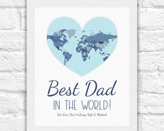 Personalized Gifts for Dad, Best Dad in the World with Kids Names, Fathers Day or Birthday Gift for Men, Mans Birthday, Husband Gift Poster