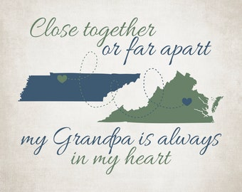 Family Map Gift, Grandparent or Grandpa, Aunt or Uncle - Choose ANY TWO MAPS, Hearts over Locations on State Maps | WF626
