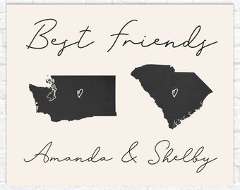 Best Friend Maps, Farmhouse Style Art for Friend, Minimalist Simple Art for Best Friend Moving, Personalized Sign with Names, Heart Maps