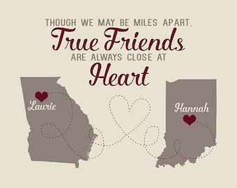 Friend Gift, Miss You, Thank You Gift, Moving Away, Friends Forever - True Friendship Quotes, Long Distance Maps, Unique, Original | WF204