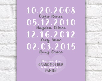 Gift for Grandma or Mom, From Kids, Grandparents - Dates, Names, Quote - Family Art Print, Custom, Personalized, Unique Gift | WF157