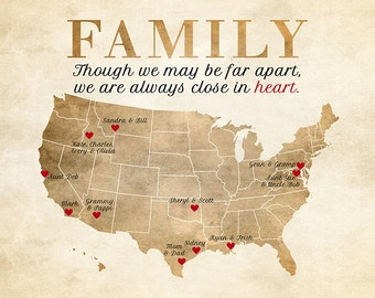 Gift, Family Map, Relatives, Parents, Grandparents, Aunts, Uncles, Siblings - Art Map, Sister, Brother, Mom, Dad, Grandma, Grandpa WF102