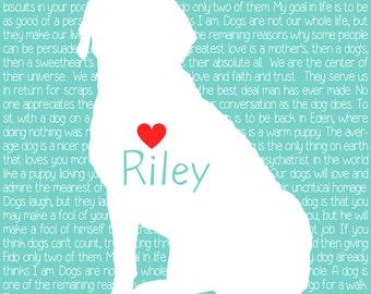 Labrador Retriever Custom Pet Print, Dog Quotes -  Personalized Dog Art Print, Silhouette, Lab, Golden Retriever, Turquoise WF314