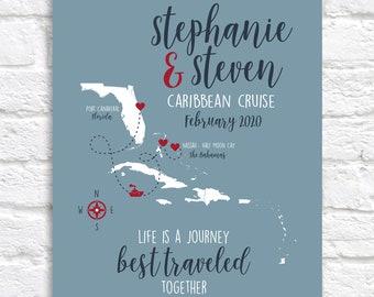 Custom Cruise Map, Bahamas and Caribbean Cruise Ship Vacation, Honeymoon, Travel, Nassau, Puerto Rico, Jamaica, Cruise Lovers | WF702
